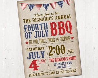 4th of July Invitation - Fourth of July Invitation - BBQ Invitation - Vintage 4th of July Invitation - Printable Fourth of July Invitation