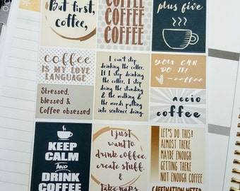 COFFEE quote full boxes   Stickers for ECLP (#QB03)
