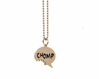 Hangry Charm Necklace - Fun Gift for Foodies - Bite Mark Necklace - Chomp Speech Bubble Charm - Food Lover Birthday Gift - Ready to Ship