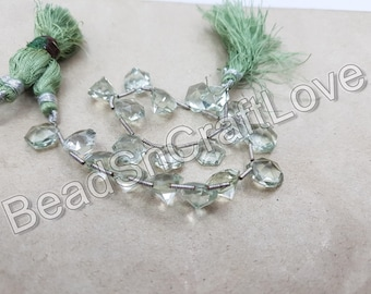 Green Amethyst octagon  shape Briolettes, 10 pieces   12mm           AAA quality