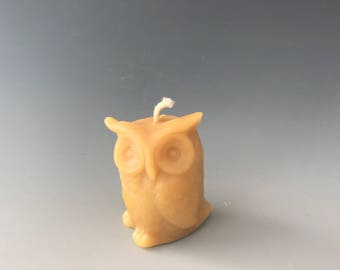 Tiny owlet beeswax candle