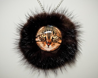 Cat Necklace, Cat Lovers Necklace, Kitty cat necklace, real fur leather necklace, cat pendant charm, real mink fur, cat jewelry picture