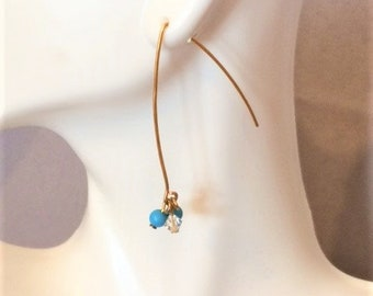 Turquoise and Crystal Gold Threader Earrings; Turquoise and Crystal Drop Earrings; Turquoise Earrings; Crystal Earrings; Threader Earrings