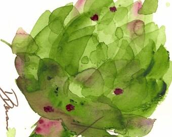 Moderne botanische kunst Print, grote artisjok Print, keuken kunst
