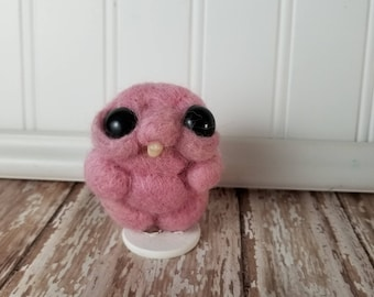 MINI **Adorable Needle Felted Wool Toothy Monster- Pink