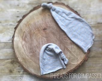 Gray Stripe Stocking Cap, Sleepy Time Cap, Newborn Hat, Photography Prop, Night Time
