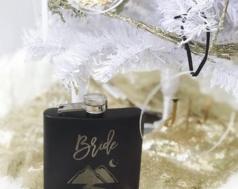 Bridal Party Flasks - Personalized 6oz Black Matte Wedding Flasks - Perfect for Bride, Bride to be, Maid of Honor, Bridesmaid, Bridesmaids