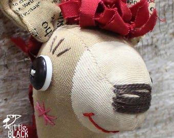 Donkey, Cloth Art Doll, Primitive, Folk Art Doll, Gift For Him, Gift For Doll Collector, Shelf Display, Children's Bedroom