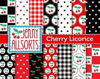 Cherries & Licorice Digital Scrapbooking Paper Pack 14 printable pages Instant download digital paper tag card invites background papercraft