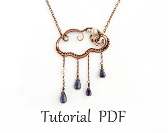 Jewelry tutorial DIY project - Wire wrapped cloud pendant - wire wrap tutorial