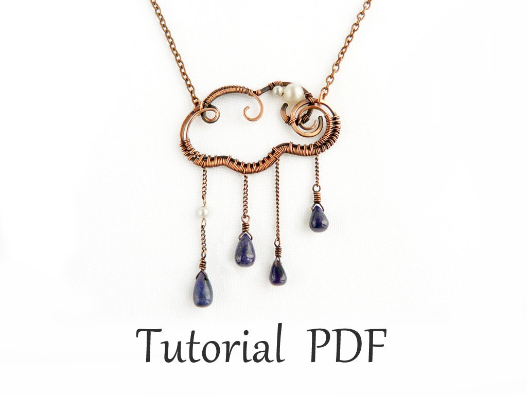 Jewelry tutorial DIY project Wire wrapped cloud pendant