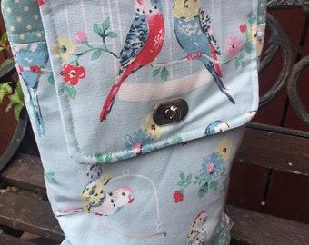 Handmade Cath Kidston budgerigar and polka dot print backpack | rucksack | womens carry all backpack | parakeet