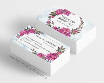 Make up artist business cards - Beautician business cards - Printable business cards - Floral peony business cards - makeup business cards