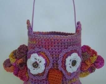 Crocheted Owl Tote Bucket