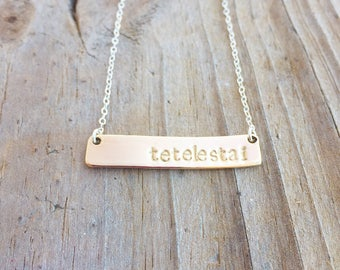 Hand stamped brass bar tetelestai necklace, brass bar necklace, personalized name bar necklace, minimal jewelry, everyday necklace