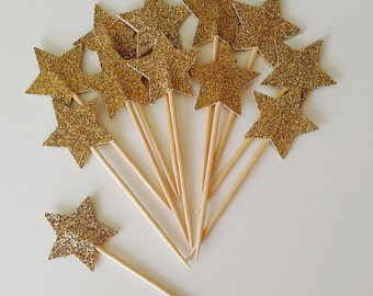 Gold Star Cupcake Toppers - Set of 12+ Twinkle Twinkle Little Star - Baby Shower, Birthday Party, Fun Decor - Die Cut