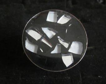 artesanía anillo redondeada resina cubierta de baldosas / negro/blanco
