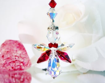 Red Guardian Angel Car Charm Swarovski Crystal Rear View Mirror Charm Car Accessories Hanging Crystals