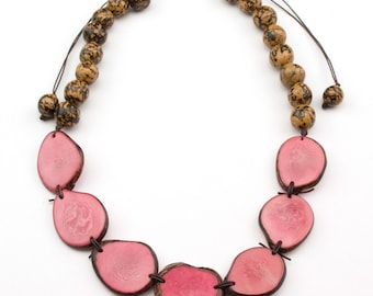 Bib Adjustable Pink Tagua- Natural Bonbona Necklaces.