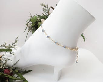 Blue Sapphire Anklet, September Birthstone, Blue Gemstone Anklet In Gold Filled, 9-10.25 Inches Length, Sapphire Jewelry,Wire Wrap Anklet