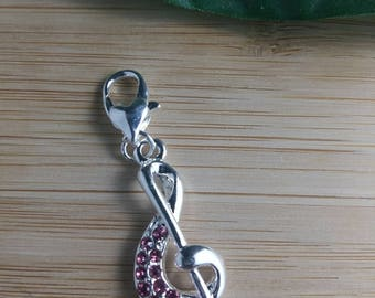 BLU by LOU PENDANT - Treble Clef with Pink Stones