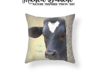 Black Calf Photo Pillow, Calf with Heart Pillow, Rustic Farm House Decor, Nursery Curious Cow Toss Pillow, Baby Pillow Throw Pillow Cover