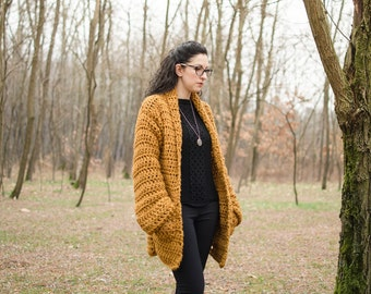 "Crochet Cardigan MoD. ""Laburnum""-mustard-coloured, mixed wool"
