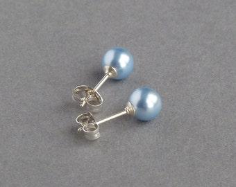 Powder Blue Stud Earrings - Light Blue Swarovski Pearl Earrings - Pale Blue Post Earrings - Bridesmaid Jewellery - Soft Blue Wedding Gifts