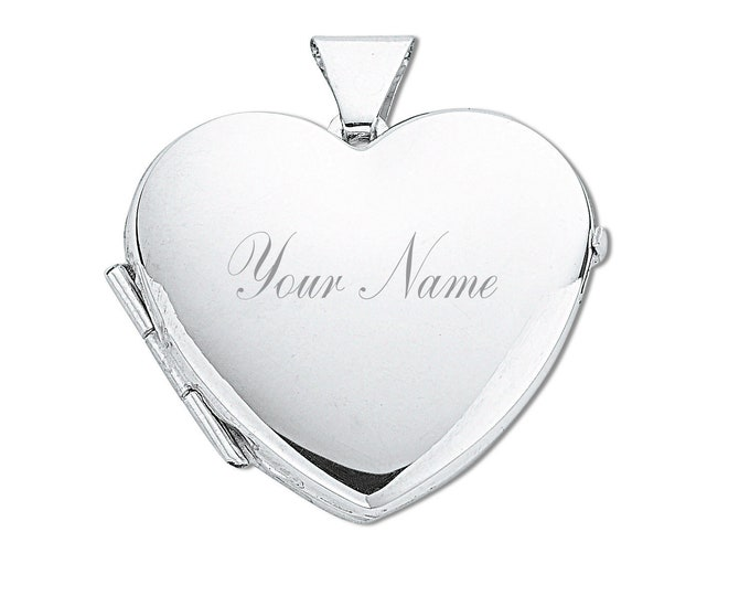 925 Sterling Silver 2cm Plain 2 Photo Heart Locket-Personalised Name & Message