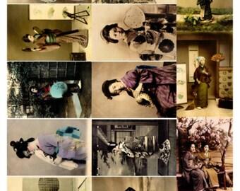Geisha Japanese Women Collage Sheet V2,  Vintage Photos - Digital Download JPG File by Swing Shift Designs
