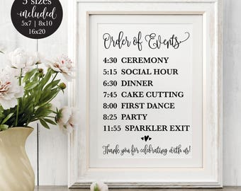 Order of Events Editable Wedding Sign, Rustic Printable Wedding Reception Schedule, Calligraphy Timeline Sign, DIY Instant Download Template