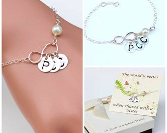 Personalized Infinity sterling silver bracelet. Sister bracelet, best friends bracelet. Mother bracelet, gift for her