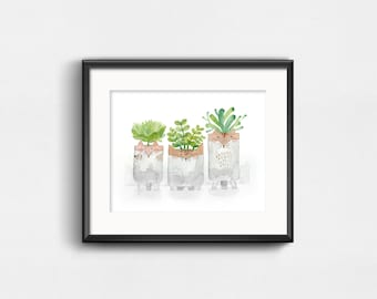 Three Potteries | Watercolor Art Print | Mouse, Cat, Fox, and Plants | Wall Decor | 8x10 | 11x14