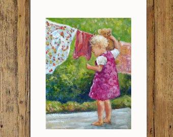 Teddy's Washing Day, Child Print, Art Print,