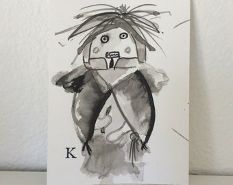 "Original outsider art brush and ink drawing ""Kachina"" 4""x 6"""
