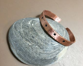 Copper cuff doted cuff oxidized unisex handmade