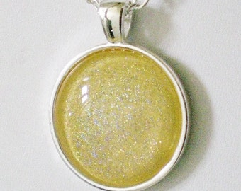 Pineapple Yellow Holo Nail Polish Necklace Jewelry