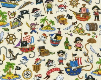 Fat Quarter Treasure Island Pirates Ships All Over Cotton Quilting Fabric Nutex