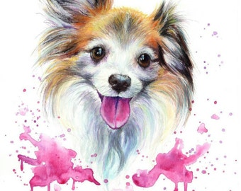 Custom Pet Portrait Dog Cat colourful illustration made with watercolours and pastels personalised painting