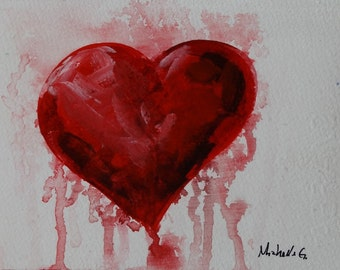 Read Heat, Heart Art, Original Painting, Affordable Artwork, Gift for Her, Gift For Him, Small Painting, Romantic Gift, Original Art, OOAK