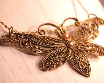 Golden Dragonfly Long Statement Necklace