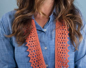 Crochet Scarf Pattern Tiffany Scarf crochet pattern summer scarf spring scarf dk yarn sport lace yarn INSTANT pdf DOWNLOAD knit pattern