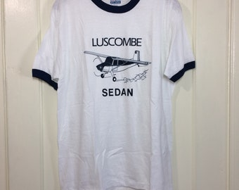 deadstock 1980s Luscombe Sedan small airplane t-shirt size large 19.5x27 pilot aircraft thin white blue ringer Hanes made in USA NOS