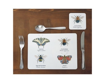 Bumblebee and Butterfly Combination Placemats - (Set of 4)