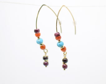 Spiny Oyster, Turquoise and 14 K Gold Filled Threader Earrings