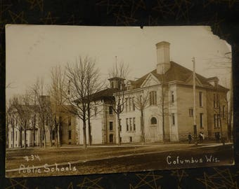 RPPC Columbus WI Public Schools  #34.    1910 postmark   Great Image.