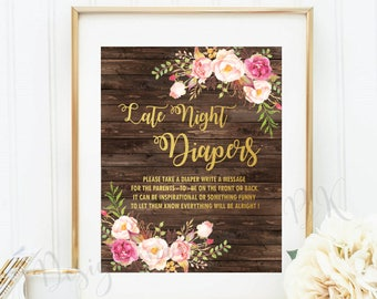 Late Night Diapers Game Sign, Printable Baby Shower Game, Baby Shower Sign, Wood, Rustici Gold, Baby Shower Printable, Baby Shower Decor