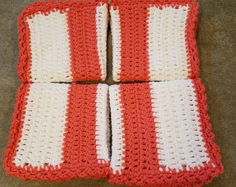 100% Cotton, Crocheted Washcloth, Crocheted Dishcloth, Hanmade, Wash Cloth, Wash Rag