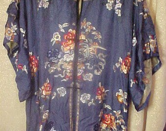 Antique blue Embroider Silk Kimona AS IS   2162