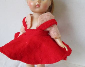 Red Felt Jumper w Pink Bolero for your Ginny Pam Ginger Muffie Alexander Christmas British Crown